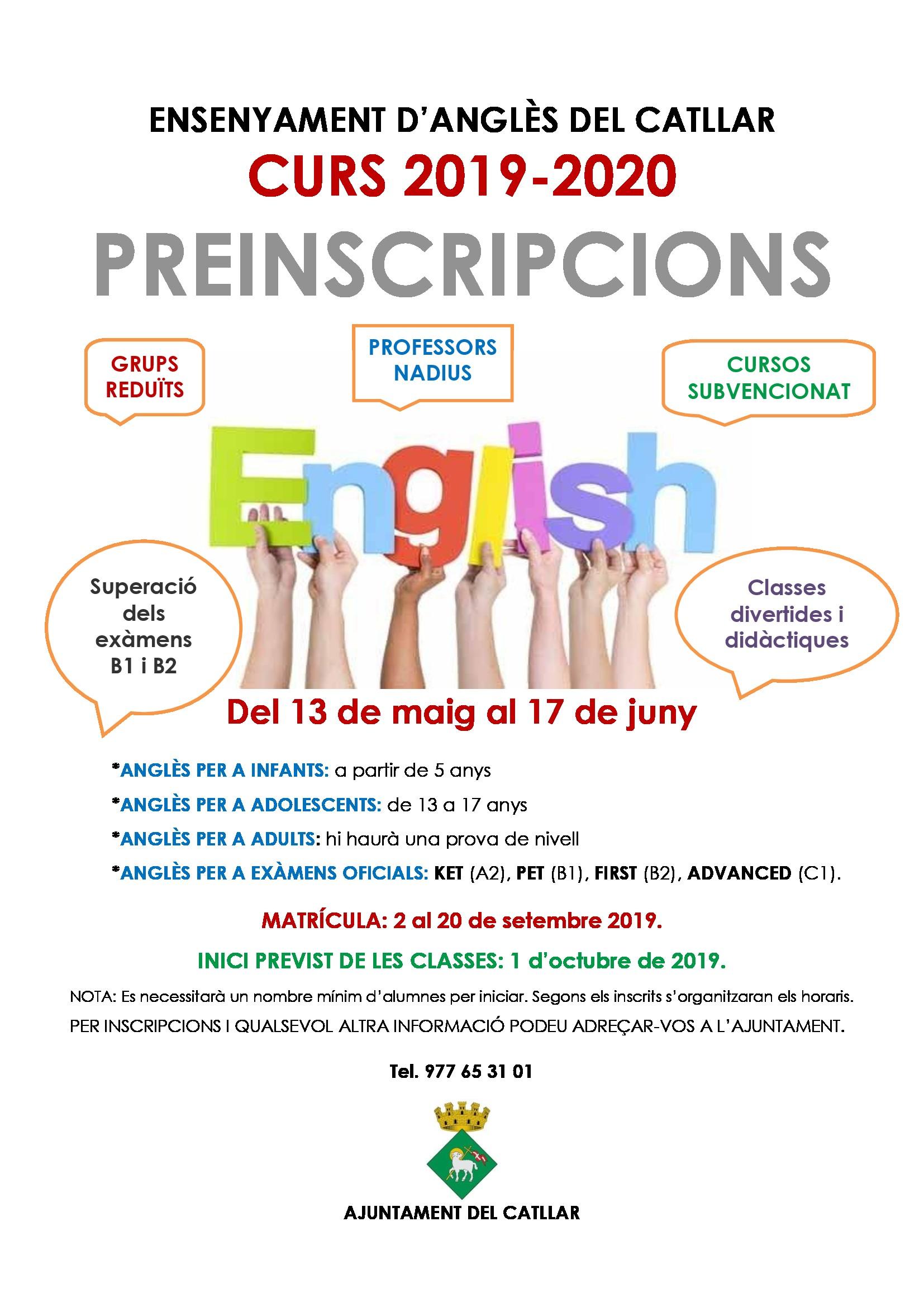 Preinscripció cursos anglès 2019-2020
