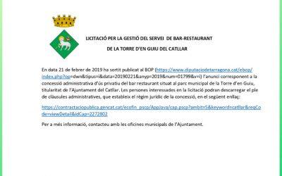 SERVICIO DE BAR-RESTAURANTE DE LA TORRE D'EN GUIU