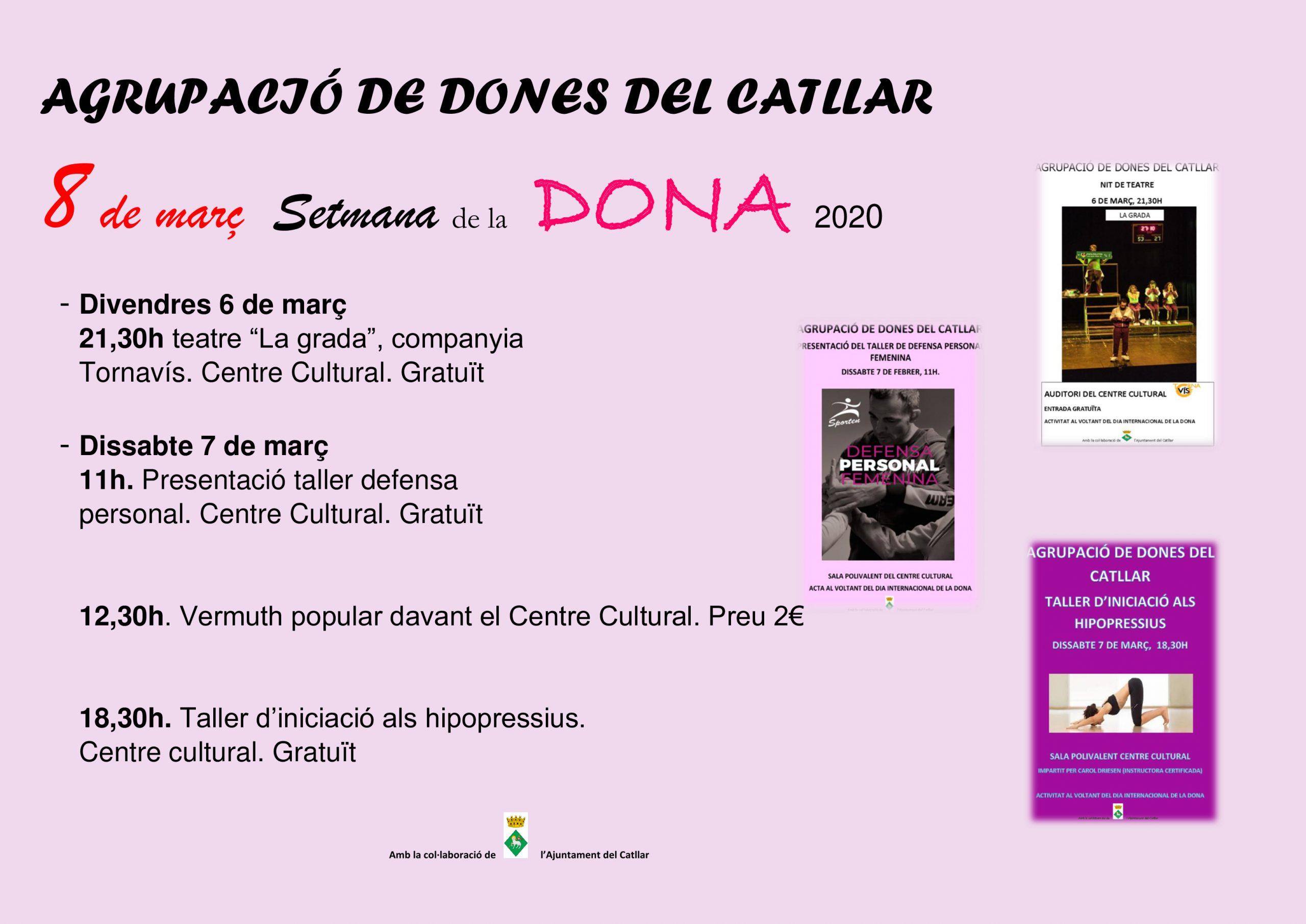 ACTES SETMANA INTERNACIONAL DE LA DONA 2020. AGRUPACIÓ DE DONES