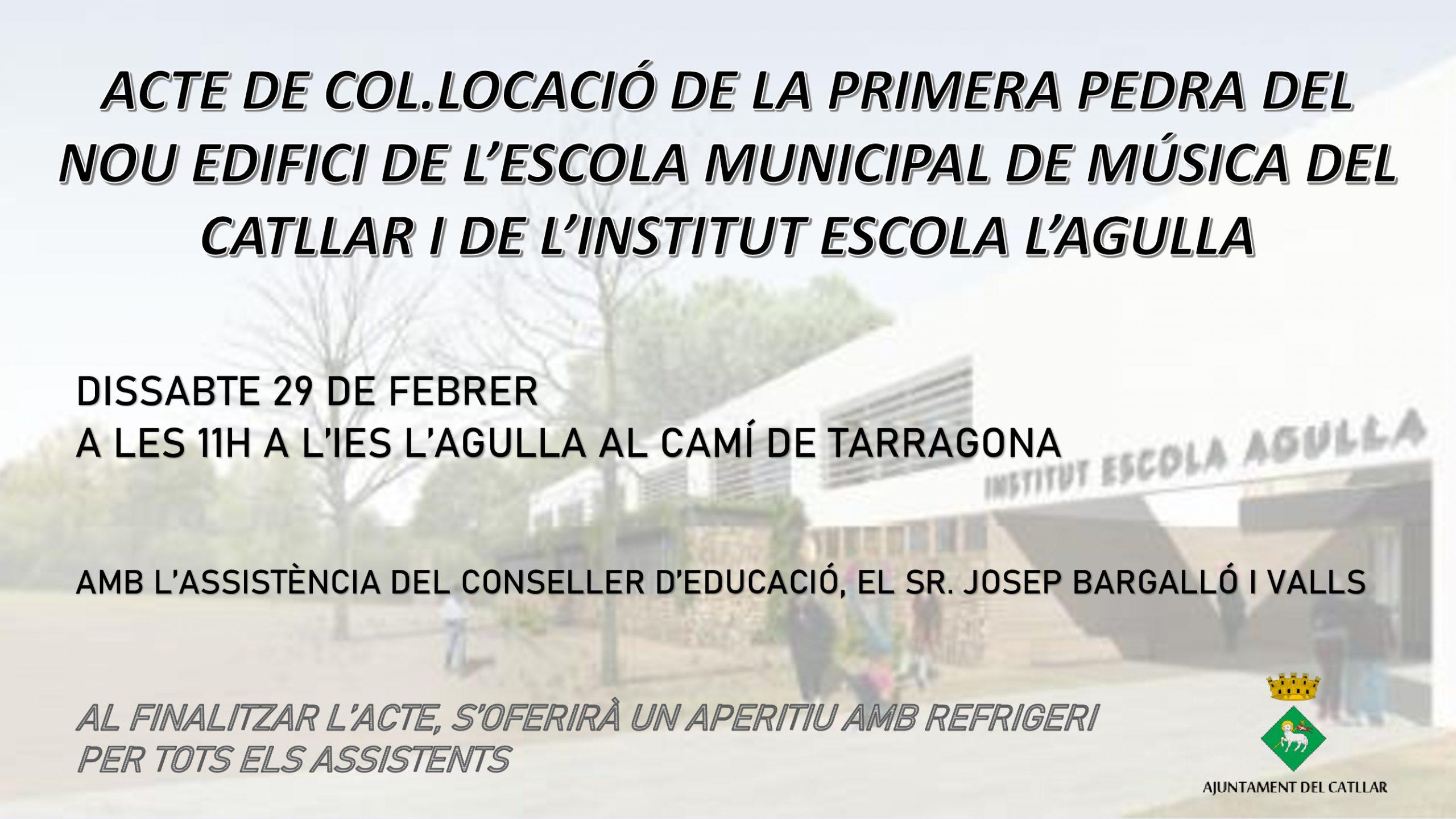 ACTE DE COL.LOCACIÓ DE LA PRIMERA PEDRA DE L' ESCOLA MUNICIPAL DE MÚSICA DEL CATLLAR I L'INSTITUT ESCOLA L'AGULLA