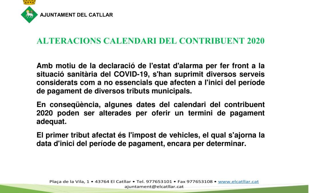 ALTERACIONES EN EL CALENDARIO DEL CONTRIBUYENTE 2020