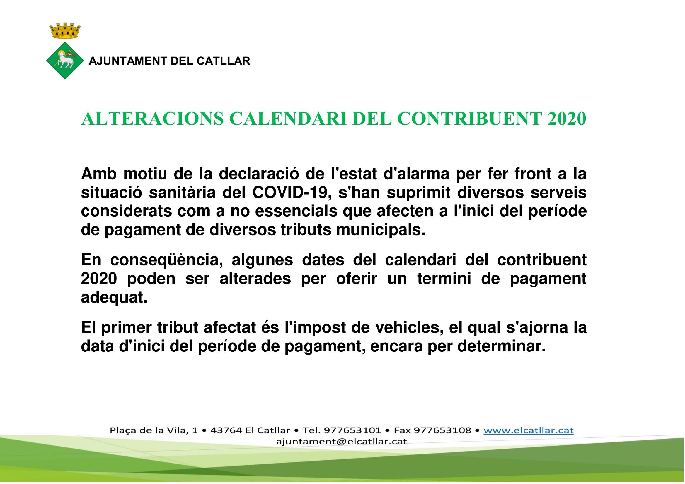 ALTERACIONS CALENDARI DEL CONTRIBUENT 2020