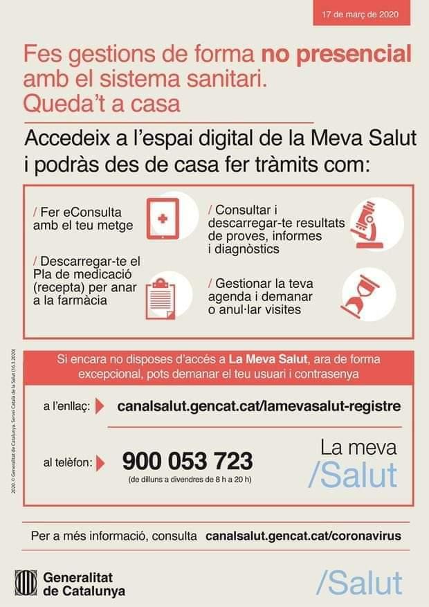 """""""LA MEVA SALUT"""" – GESTIONES NO PRESENCIALES CON EL SISTEMA SANITARIO"""
