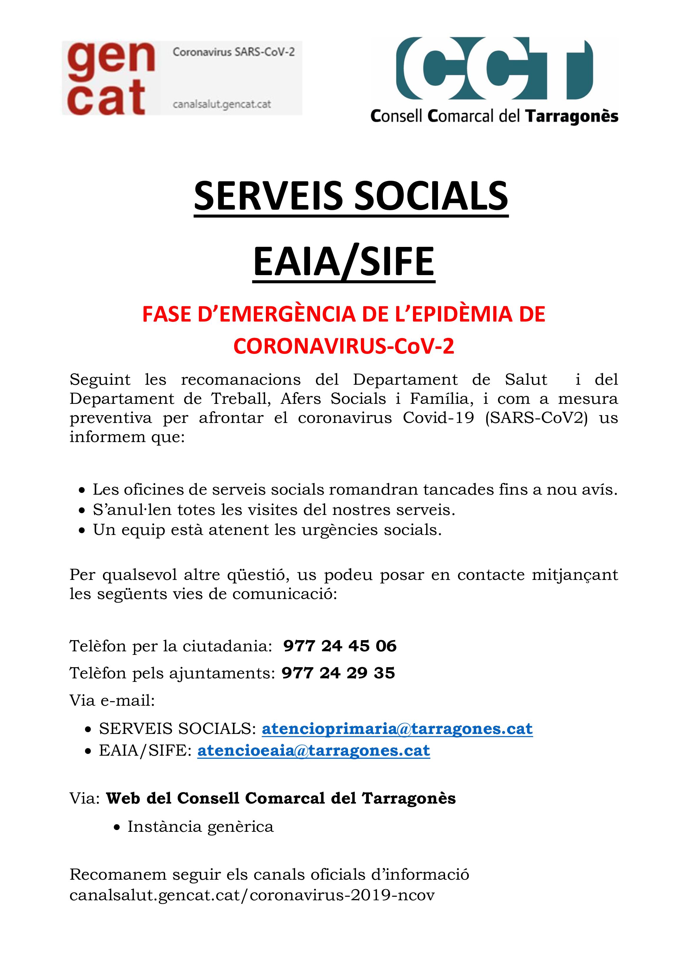 CCT – SERVICIOS SOCIALES EAIA / SIFE
