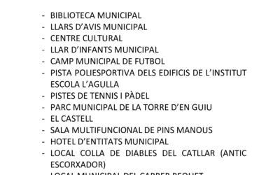 TANCAMENT D'ESPAIS MUNICIPALS