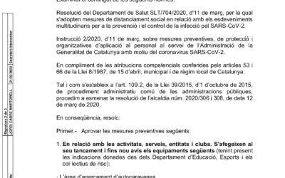 DECRET TANCAMENT ESPAIS MUNICIPALS 20.03.2020