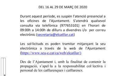 BAN 16.03.2020 – ATENCIÓ AL PÚBLIC AJUNTAMENT