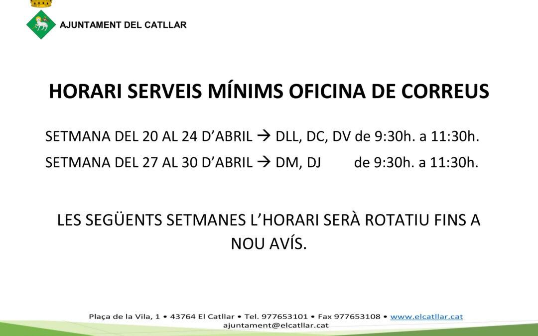 SERVEIS MÍNIMS OFICINA DE CORREUS