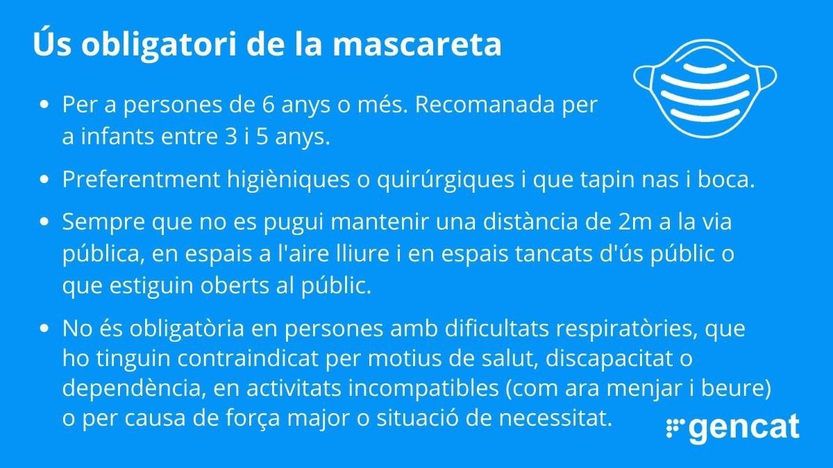 ÚS OBLIGATORI DE MASCARETA A PARTIR DEL 21/05/2020