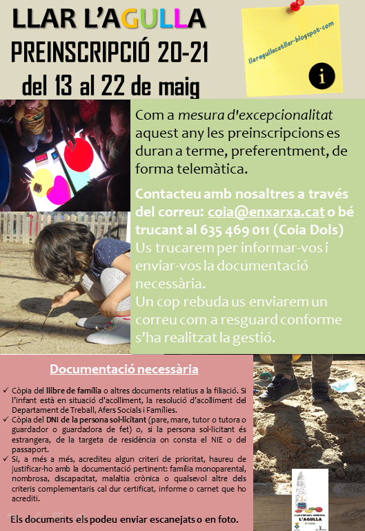 ACTUALITZACIÓ PREINSCRIPCIÓ LLAR D'INFANTS L'AGULLA 20-21