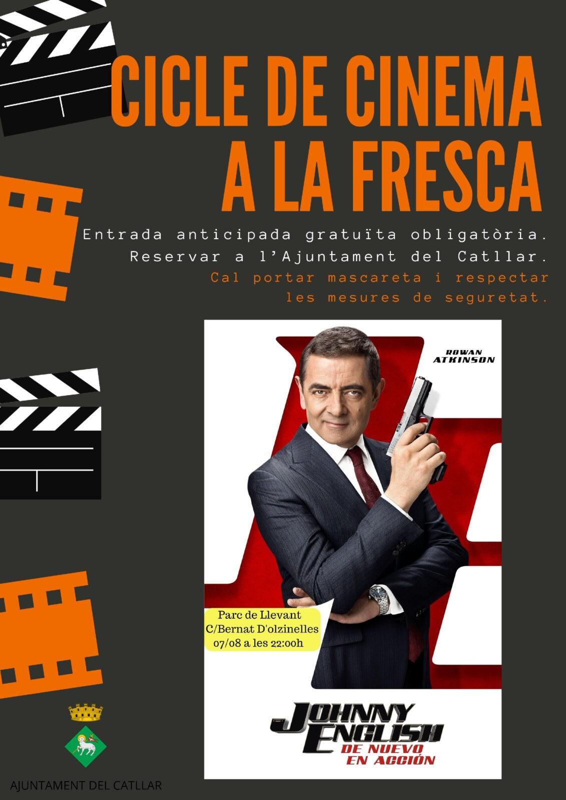 """CINEMA A LA FRESCA 2020: 7 D'AGOST       """"JOHNNY ENGLISH, DE NUEVO EN ACCIÓN""""  (PARC DE LLEVANT)"""