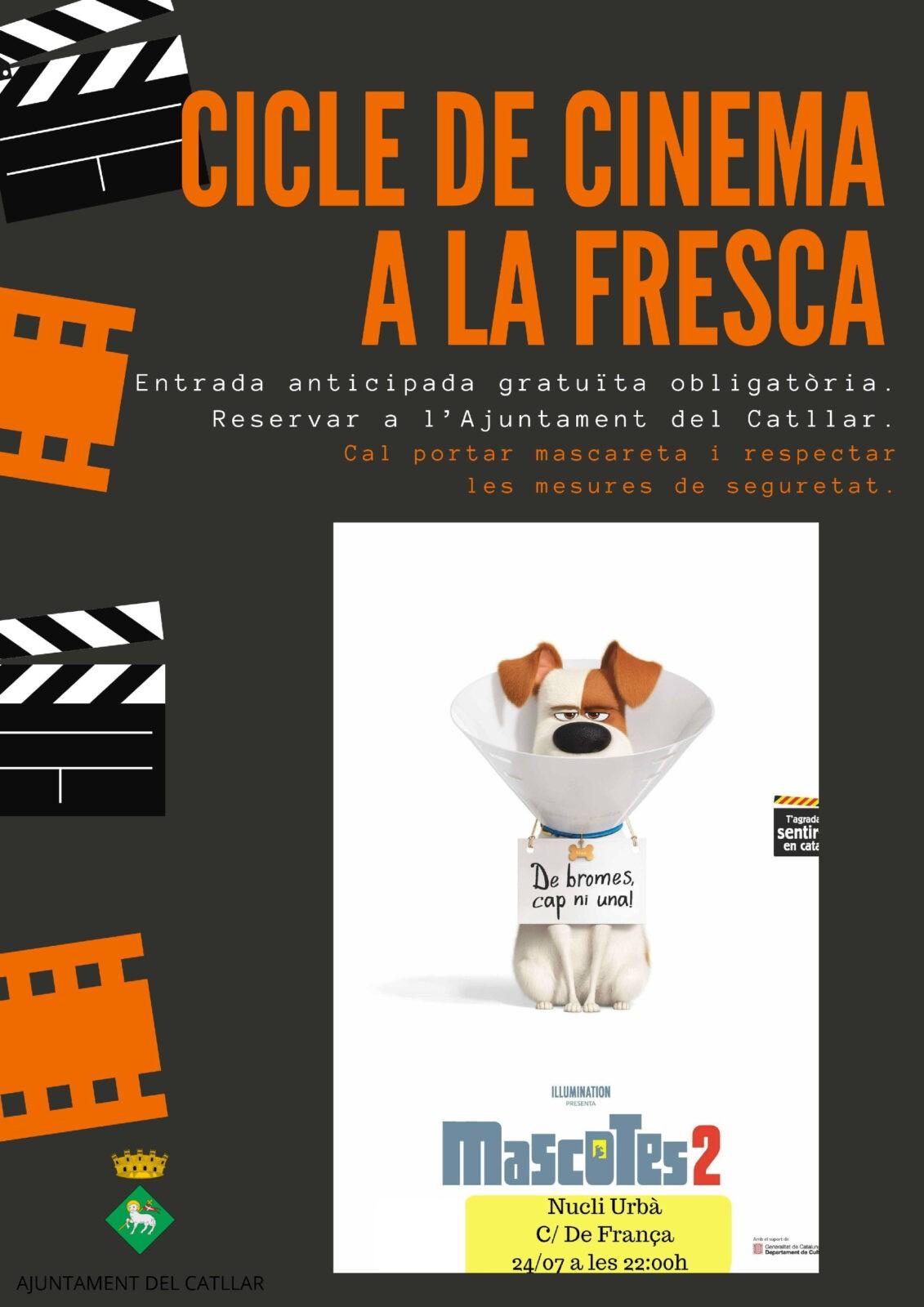 "CICLE CINEMA A LA FRESCA 2020: 24 de JULIOL   ""MASCOTAS 2"""