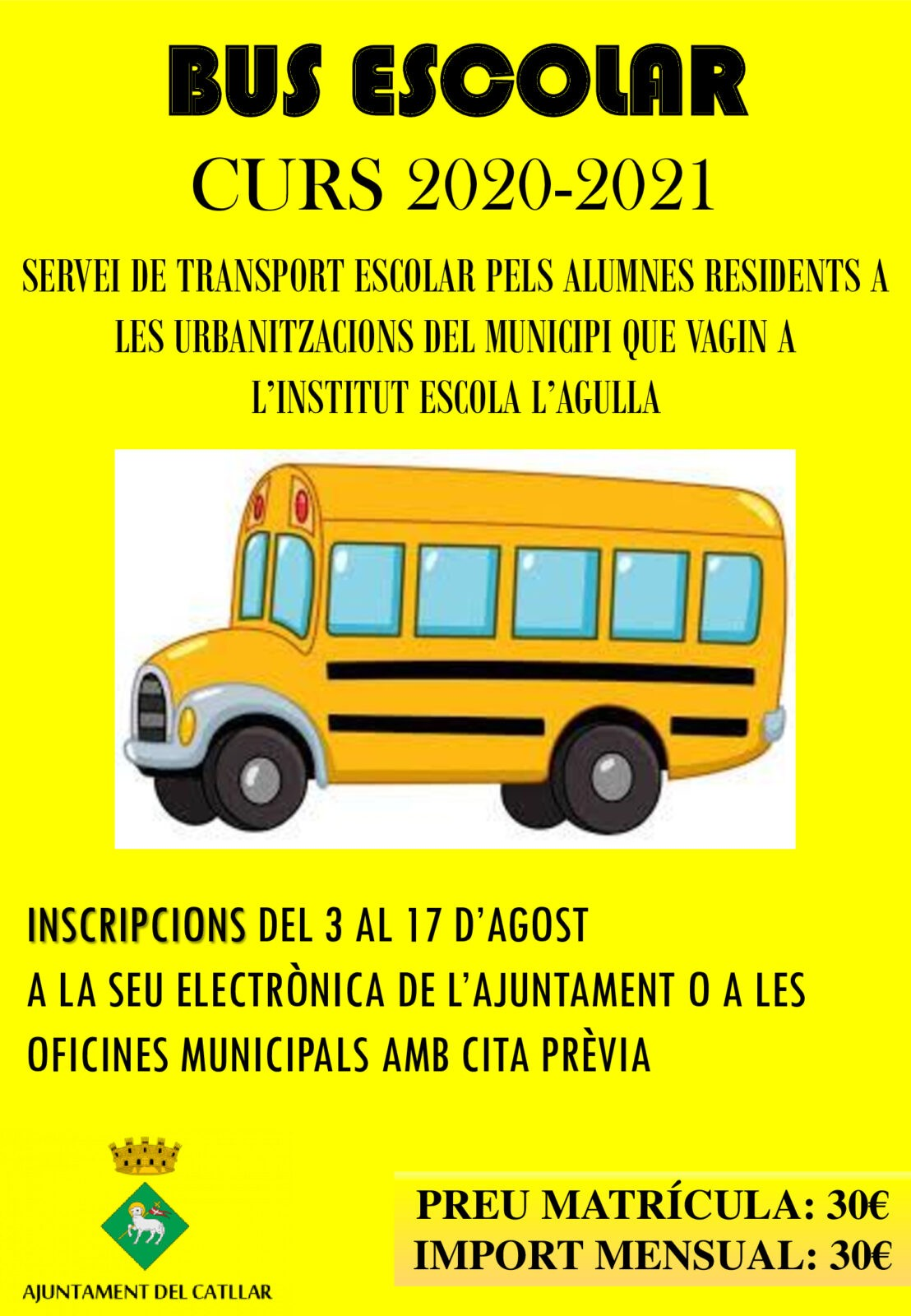 INSCRIPCIONES TRANSPORTE ESCOLAR 2020-2021