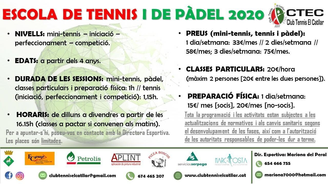 Escola de tennis i pàdel 2020-2021