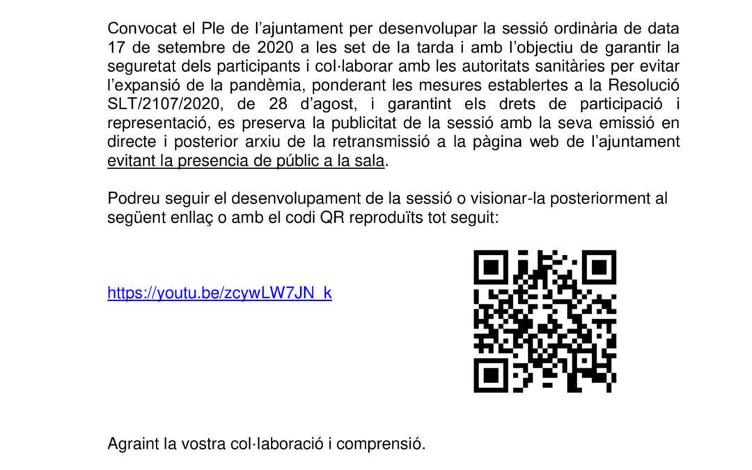 AVISO IMPORTANTE – SESIÓN ORDINARIA DEL PLENO DE 17/09/2020