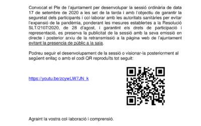 AVÍS IMPORTANT – SESSIÓ ORDINÀRIA DEL PLE DE 17/09/2020