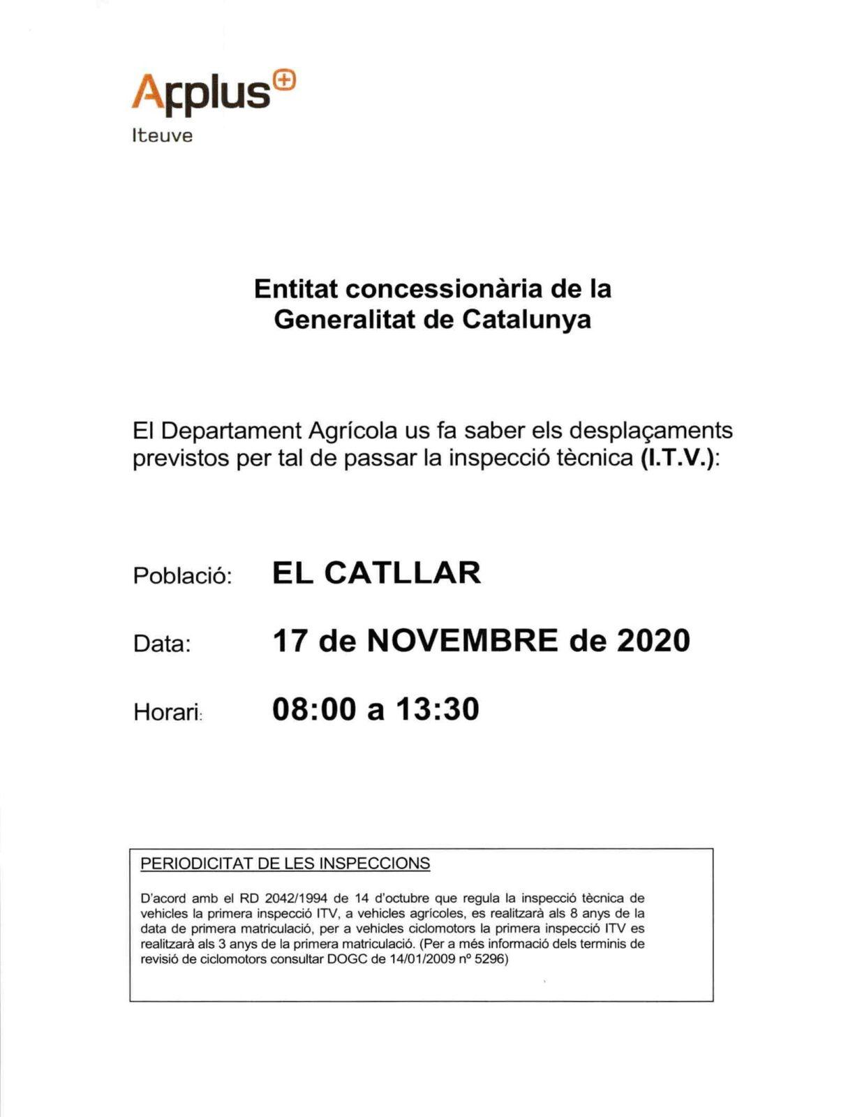 INFORMACIÓ I.T.V. AGRÍCOLA