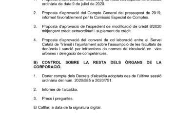ORDRE DEL DIA DE LA SESSIÓ ORDINÀRIA DEL PLE DE DATA 17 DE SETEMBRE DE 2020