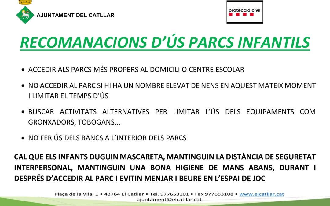 RECOMANACIONS I PAUTES D'ÚS DELS PARCS INFANTILS PER PREVENIR LA COVID-19