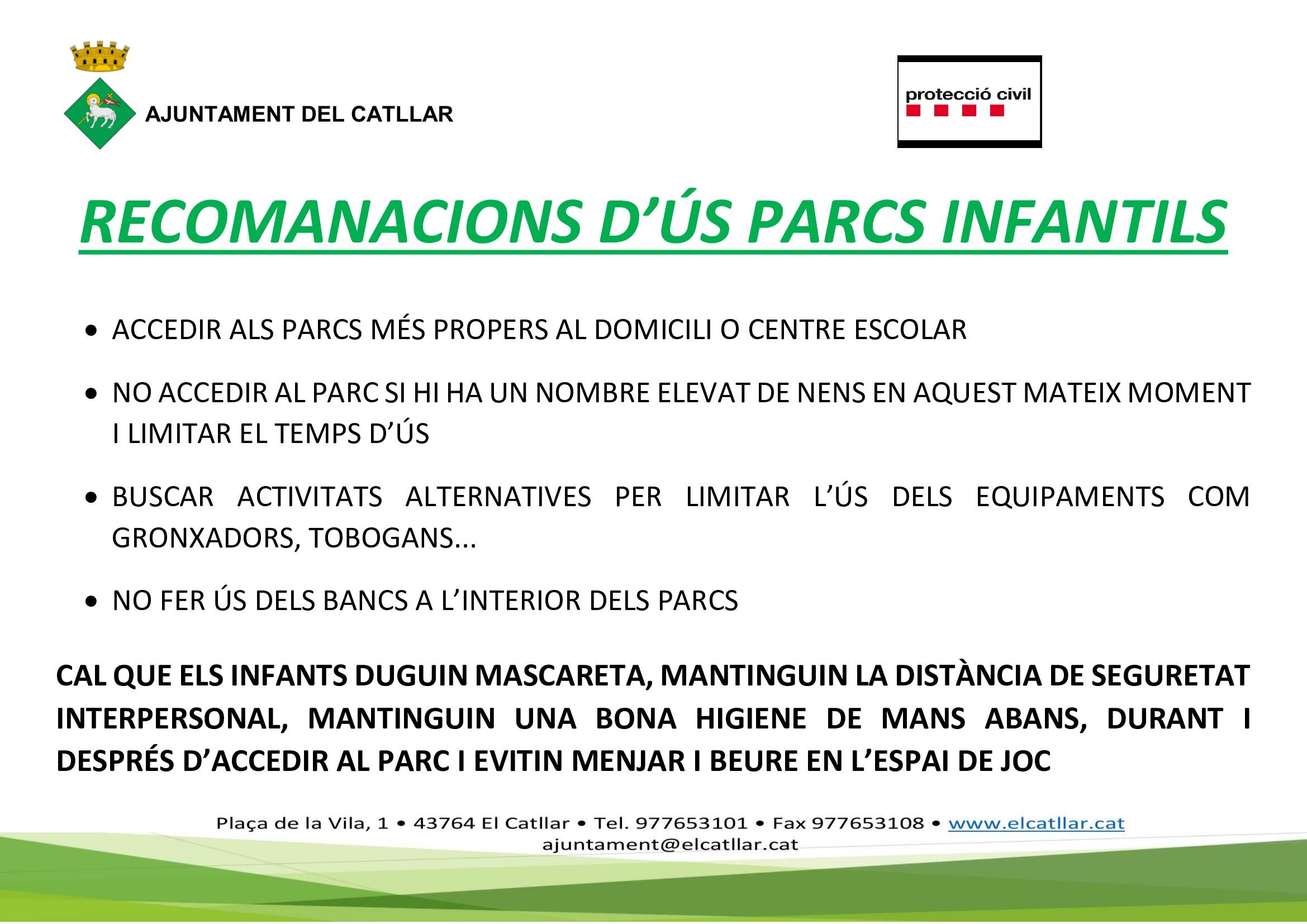 RECOMENDACIONES DE USO DE LOS PARQUES INFANTILES PARA PREVENIR LA COVID-19