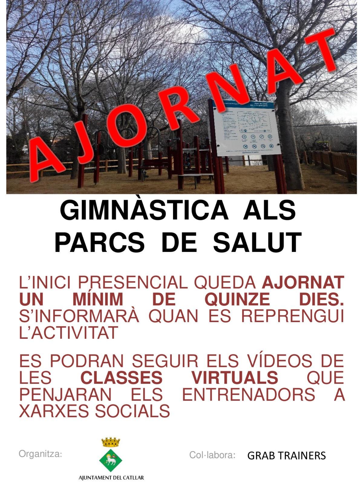 AVÍS AJORNAMENT GIMNÀSTICA ALS PARCS DE SALUT