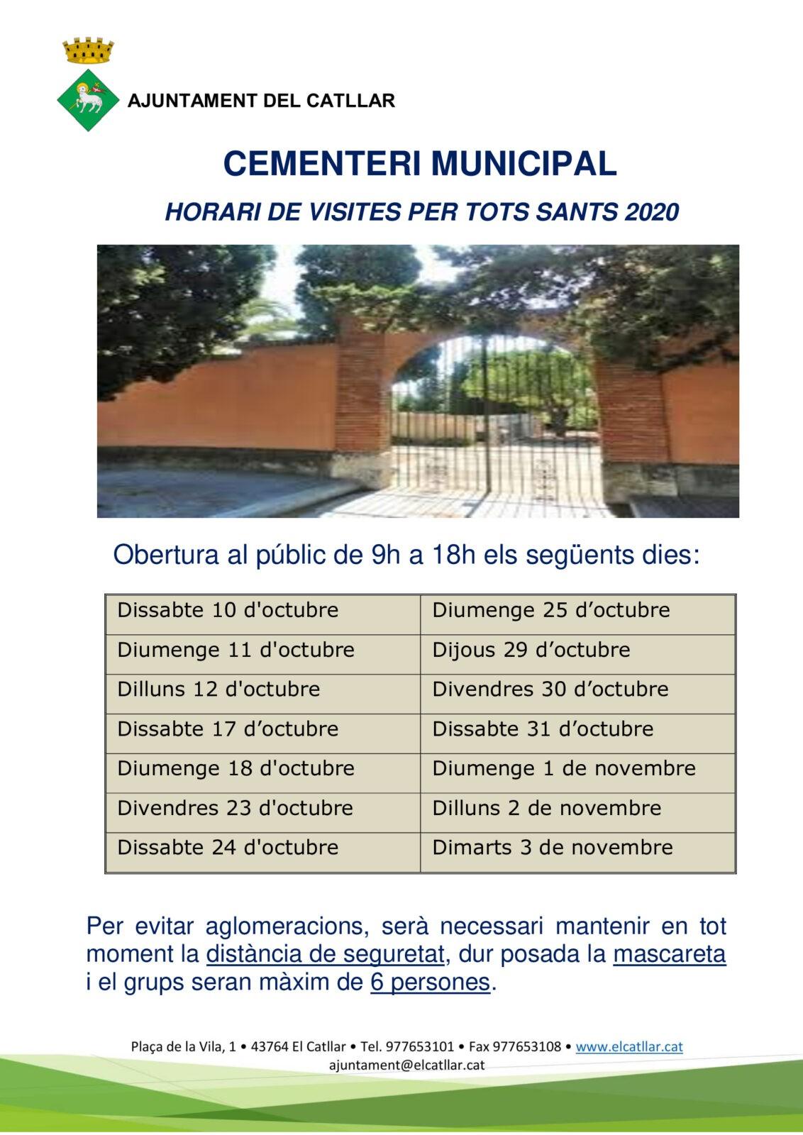 HORARI CEMENTIRI MUNICIPAL PER TOTS SANTS 2020