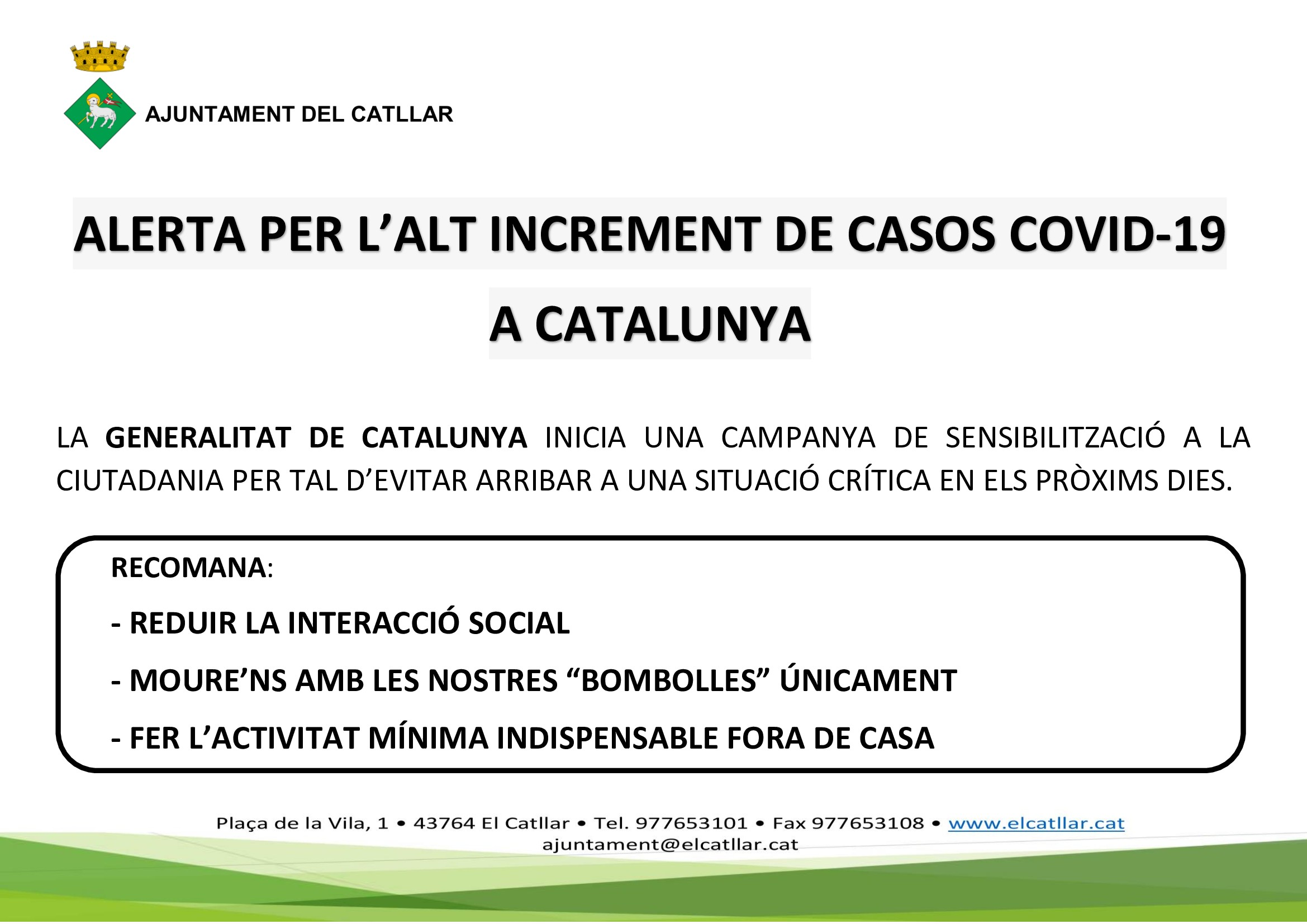 ALERTA POR EL GRAN INCREMENTO DE CASOS DE COVID-19 EN CATALUÑA – GENERALITAT DE CATALUNYA
