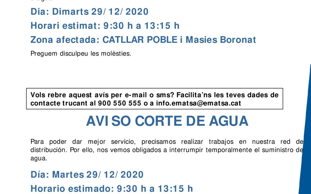 AVÍS EMATSA – TALL SUMINISTRAMENT D'AIGUA