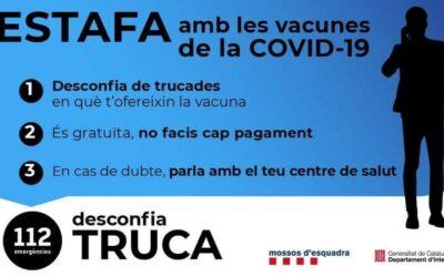 ATENCIÓ – ESTAFA AMB LES VACUNES DE LA COVID-19