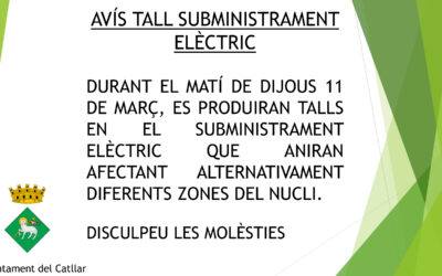 AVÍS TALL SUBMINISTRAMENT ELÈCTRIC