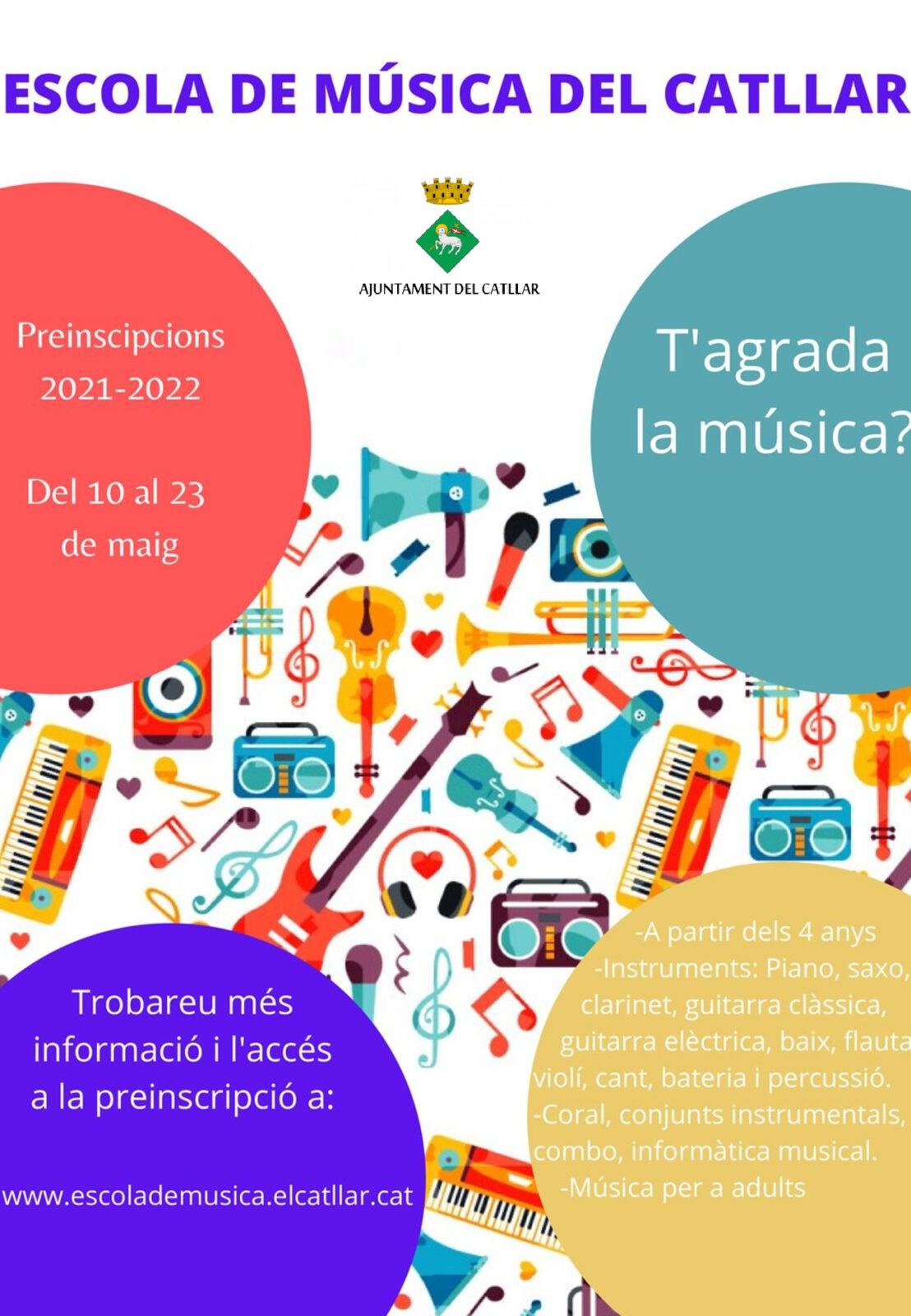 PREINSCRIPCIÓ ENSENYAMENTS MUSICALS DEL CATLLAR 2021-2022