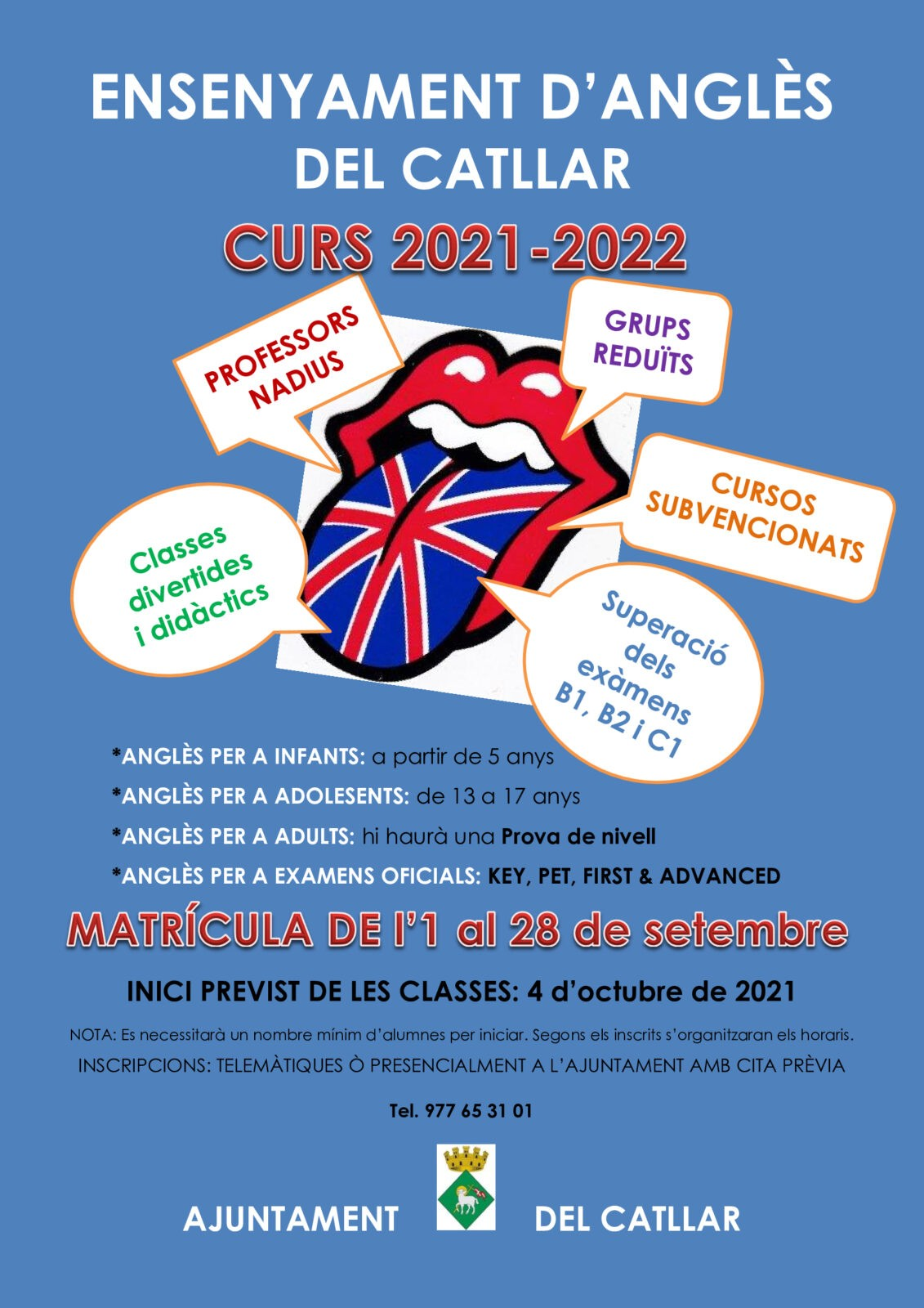 MATRÍCULA CURSOS DE INGLÉS 2021-2022 EL CATLLAR