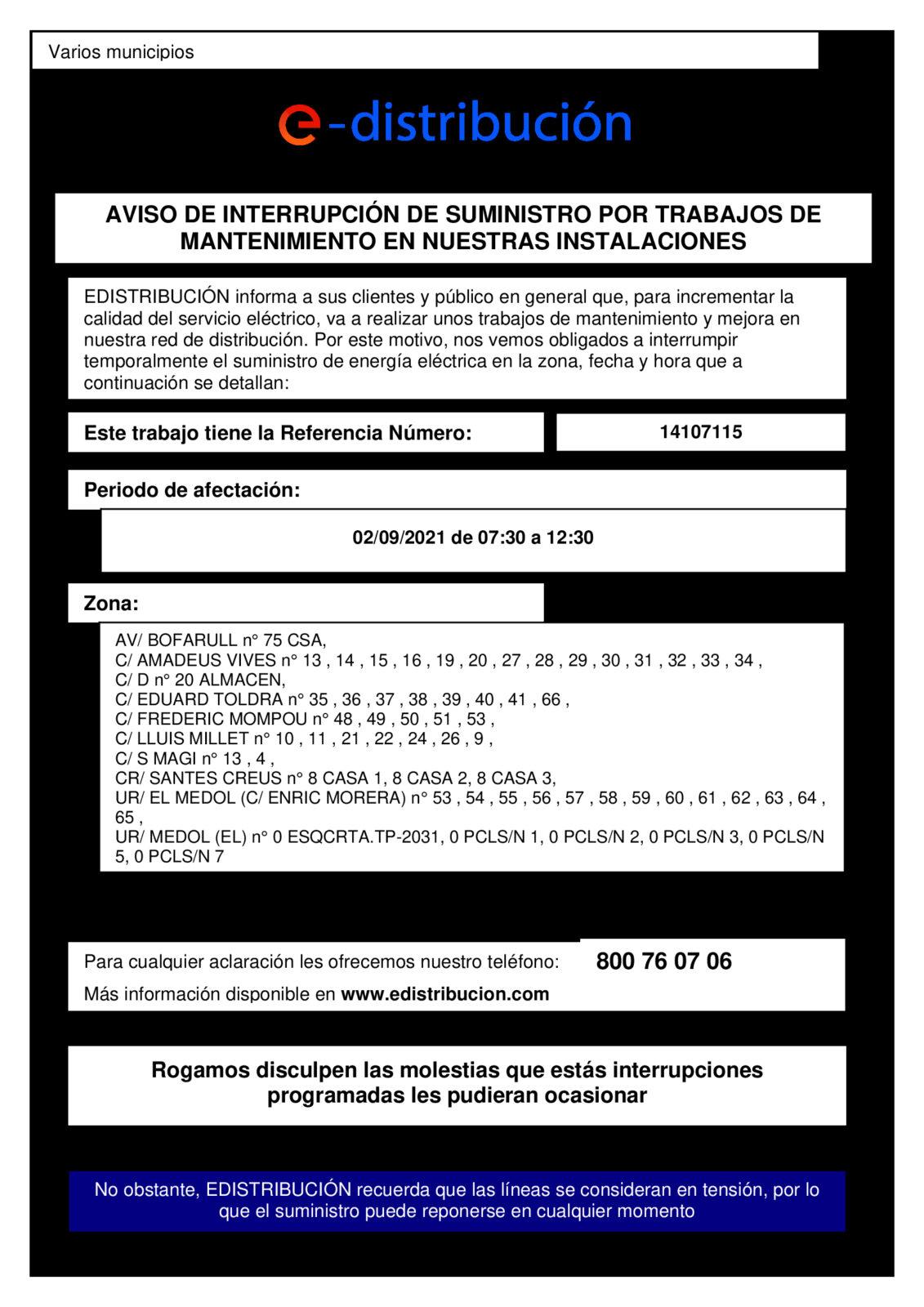 AVISO CORTE DE SUMINISTRO ELÉCTRICO – E DISTRIBUCIÓN