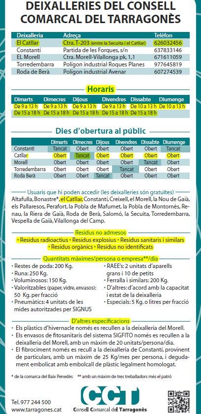 HORARIO CENTRO RECOGIDA DE RESIDUOS