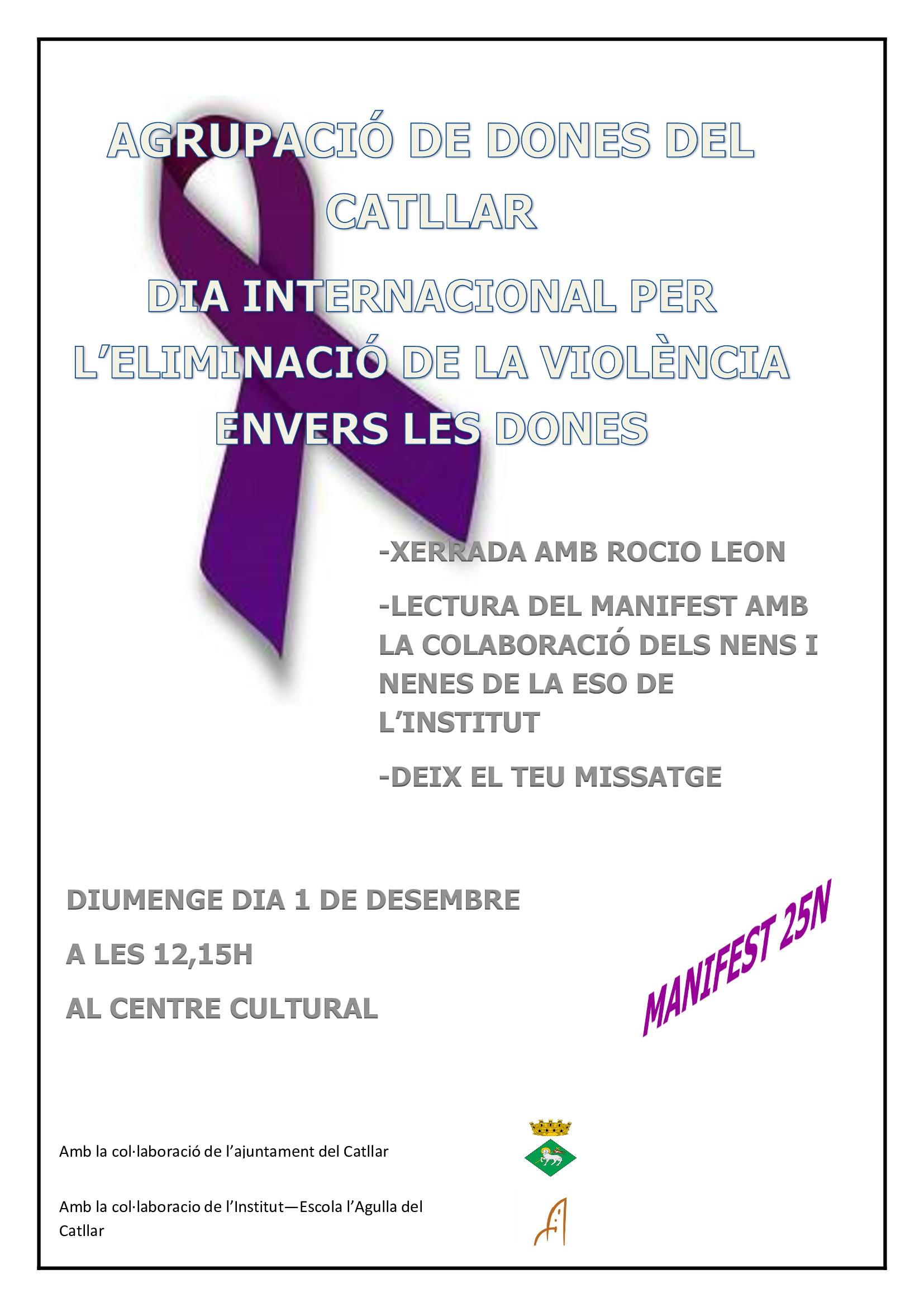 DIA INTERNACIONAL PER L'ELIMINACIÓ DE LA VIOLÈNCIA ENVERS LES DONES 1/12/2019