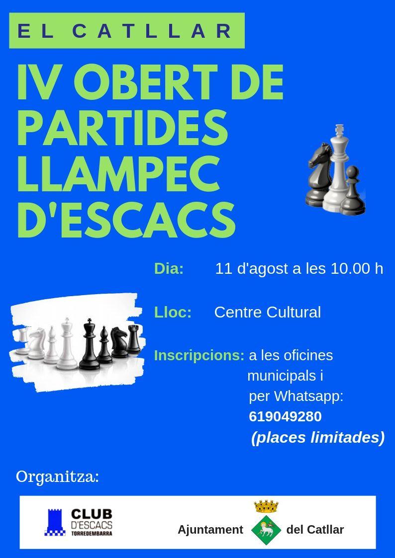 IV OBERT DE PARTIDES LLAMPEC D'ESCACS