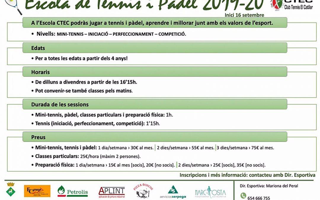Inscripcions obertes escola de Tennis i Pàdel 2019 – 2020