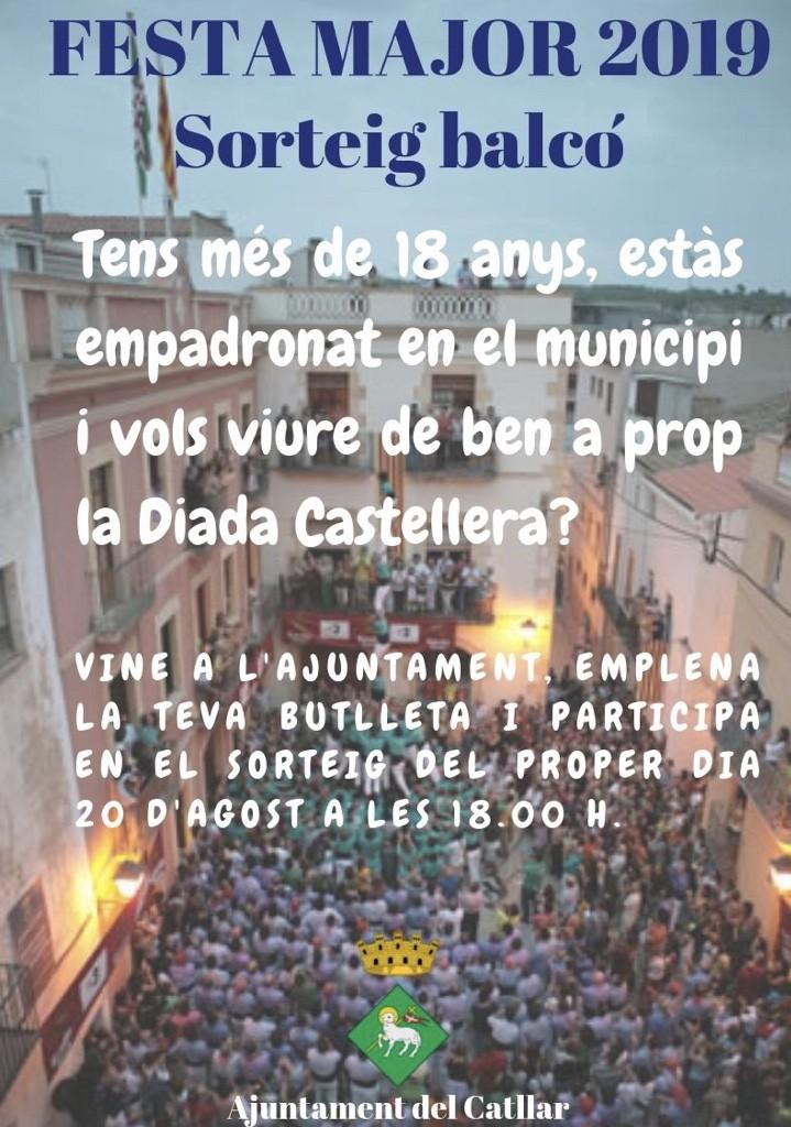 ÚS DE BALCONS MUNICIPALS PER A LA DIADA CASTELLERA