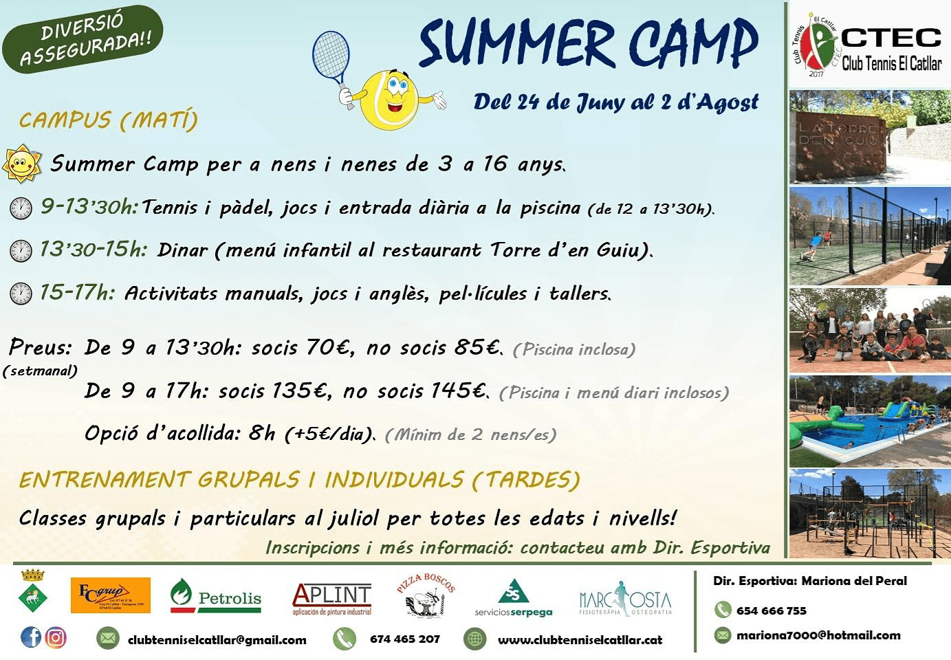 SUMMER CAMP. Club Tennis el Catllar