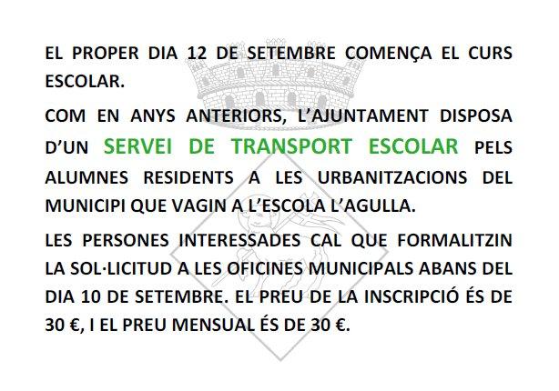 TRANSPORTE ESCOLAR CURS 2012-2013